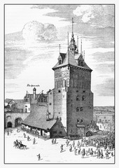 XVII century engraving, Danzig, now Gdansk, prison tower and torture chamber
