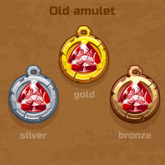 gold, silver and bronze old amulet with jewel, resource gaming element