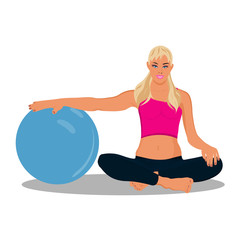 fitness woman, stability ball, vector illustration