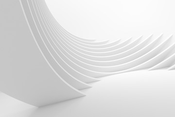 Spoed Fotobehang Abstract wave White Architecture Circular Background