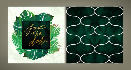Set of trendy vector wedding invitation tempale and the same style pattern tile in emerald green shades. Tropical plants, velvet, gold, marble textures.
