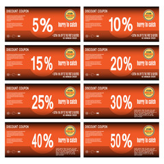 Vector set of discount coupons for promoting sales
