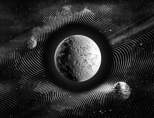 Planets in time warp night sky black and white abstract