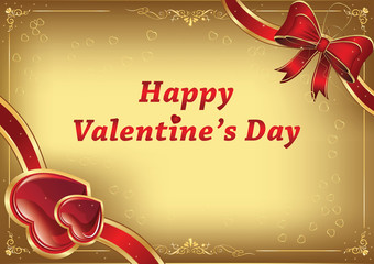 Happy Valentine's Day background with hearts and ribbon. Print colors used; custom size of a print card. Can be used as Valentine's Day greeting card, wedding invitation.