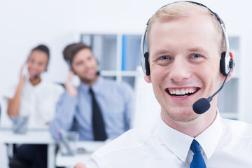 Telemarketer wearing headset