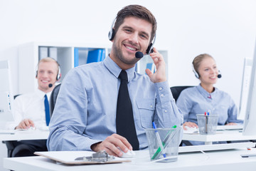 Businessman in customer service department