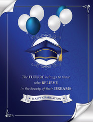 Happy Graduation greeting card for print. Congratulation for your graduation. Elegant printable greeting card containing a graduation cap / hat, balloons and a motivational message. CMYK colors used.