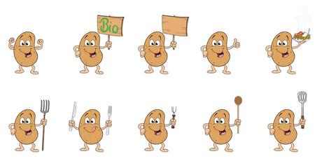 Kartoffelmännchen mit verschiedenen Gegenständen