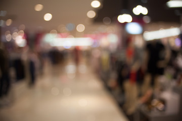 Blurred image of shopping mall background with bokeh.