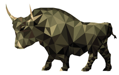 Geometry polygon vector image of an bull. Silhouette on a white background isolated
