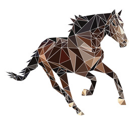 Isolated Polygon brown Ukrainian Horse runs. Vector, polygonal, abstract image of a stallion on white background.