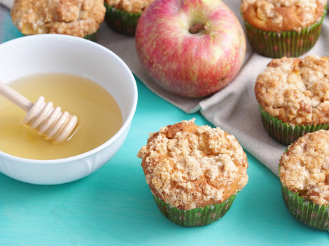 Home made apple muffins with streusel
