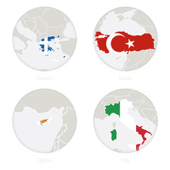 Greece, Turkey, Cyprus, Italy map contour and national flag in a circle. Vector Illustration.