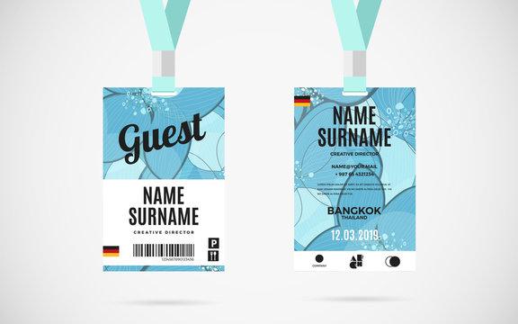 Guest id card set vector design illustration