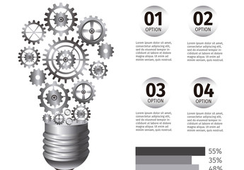 3D Lightbulb of Gears Infographic
