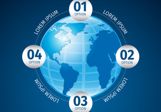Global Data Infographic with 3D Earth Illustration Element