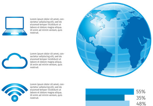 Global Cloud Storage Data Infographic with 3D Earth Illustration Element