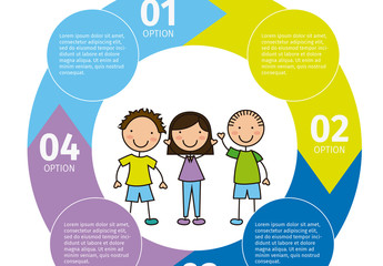 Youth Data Infographic with Circular Arrow Cluster and Child Style Icons