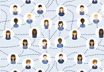 Pattern of Avatars in Blue Shirts Connected by Dotted Lines