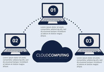 Laptop Illustration Element Cloud Storage Infographic 2
