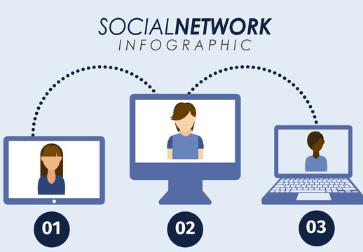 Social Network Data Infographic with Avatar and Device Icons 1