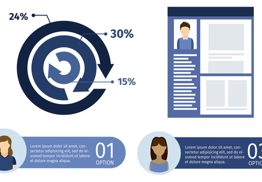 Social Network Data Infographic with Profile Page Illustration Element