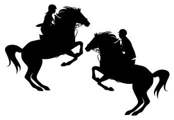 horseman black vector silhouette set