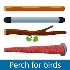 Vector illustration of plastic and pumice perch for pet birds and wood branch. Isolated accessories for parrot, canary or other bird in cage.