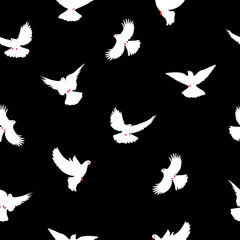 Birds silhouettes - flying seamless pattern. Dove with a red beak and legs