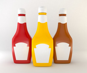 3d sauces isolated white background