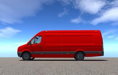 Van 3d red side view