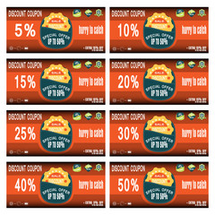 Vector set of discount coupons for promoting sales with badges.
