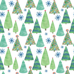 Watercolor painting seamless pattern with Christmas tree