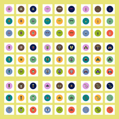 Collection of stylish vector icons in colorful circles insects