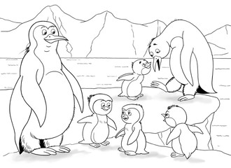 At the zoo. Arctic animals. A family of cute penguins. Illustration for children. Coloring book. Coloring page. Funny cartoon characters.
