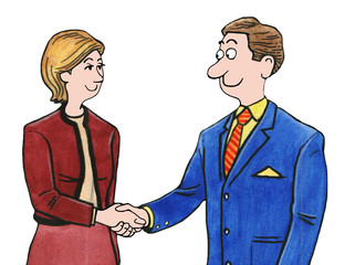 Color business illustration showing a businesswoman and businessman shaking hands.