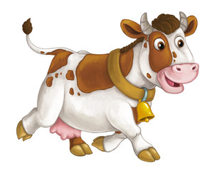 Cartoon happy farm animal - cheerful cow is running smiling and looking - artistic style - isolated - illustration for children