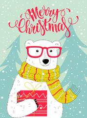 Christmas card with nice polar bear.