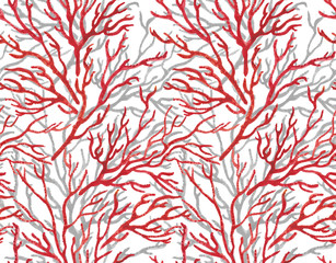 Watercolor painting Seamless sea Coral Print Pattern on white background.