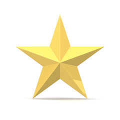 Gold Star, isolated on White Background