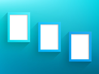 Vector 3 Blue Frames Design With White Background