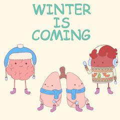 Cute internal organ character preparing for winter