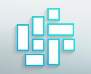 Vector Blank Blue Frames On A Wall Design