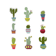 Vector illustration of a set of hand drawn cactus.