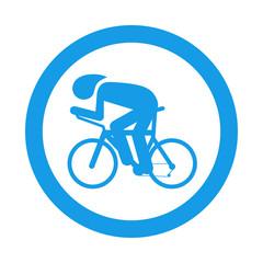 Icono plano carrera bicicletas en circulo color azul