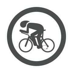 Icono plano carrera bicicletas en circulo color gris