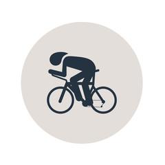 Icono plano carrera bicicletas en circulo gris