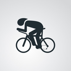 Icono plano carrera bicicletas en fondo degradado