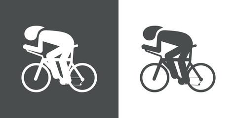 Icono plano carrera bicicletas gris y blanco