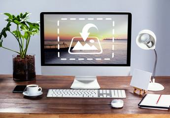 Desktop Computer on Office Desk Mockup 1